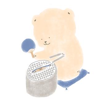 Bear roasting saury