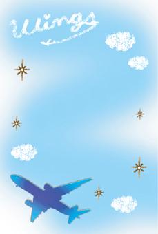飛機和天空和雲彩