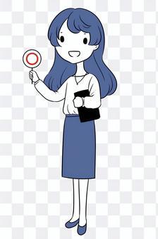 圓形標籤的女人