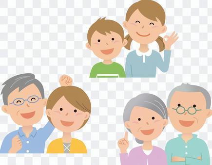 80726. Three generations family, upper body 1