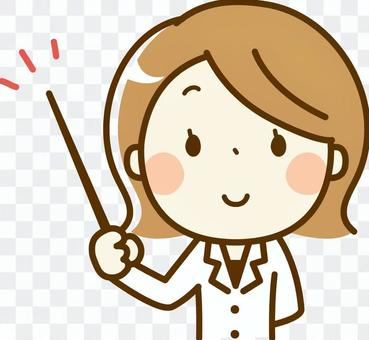 A woman of a pharmacist with a stick