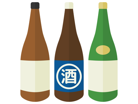 帶標籤的三色酒瓶插圖套裝