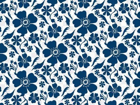 現代花卉圖案1_深藍色/白色背景
