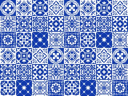 藍色瓷磚圖案背景