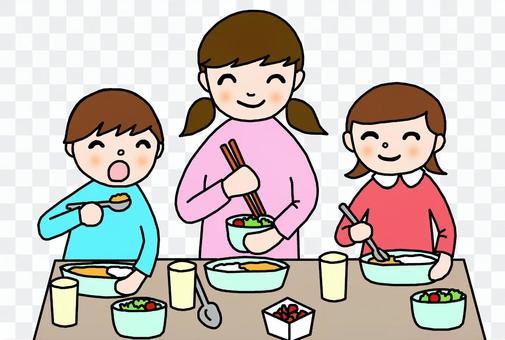 吃飯的孩子三個人
