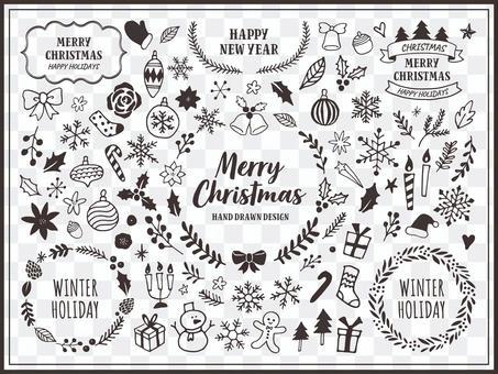 線條藝術插圖集的聖誕節和冬季植物