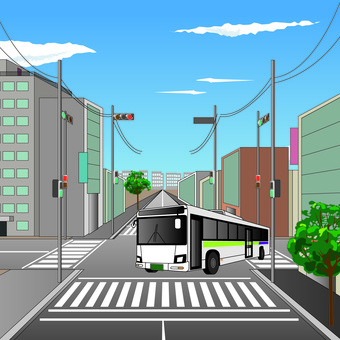 公交路線公交交叉路口向左拐