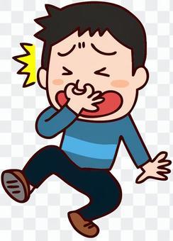 一個男性捏鼻塞的插圖