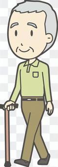 祖父Polo衫Green-377-全身