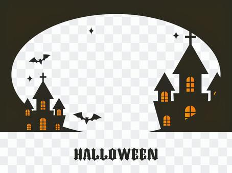 Halloween / Western-style building silhouette frame