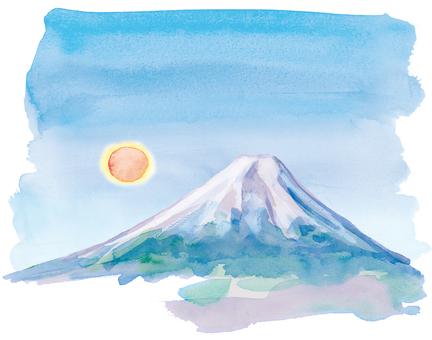 富士山與太陽水彩手繪