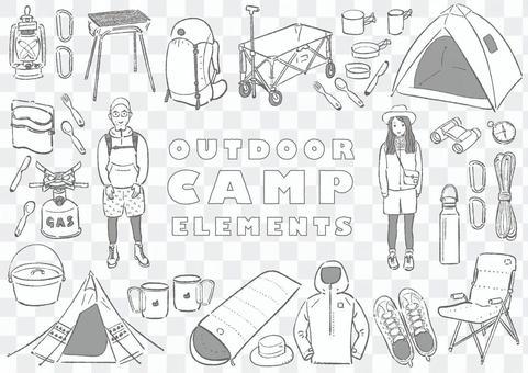 アウトドア・キャンプ用品素材セット