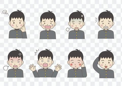 Male junior high school students' facial expression 02