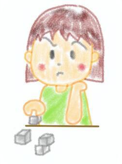 做積木的女孩