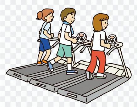 體育健身房的賽跑者
