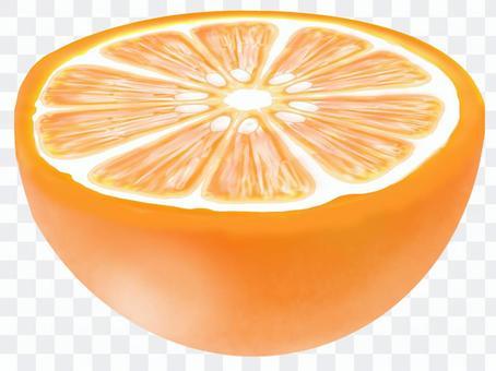 橙色切成兩半