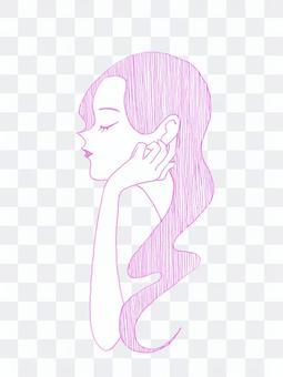 配置文件女人戴著臉頰棒(粉紅色)