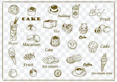 冰淇淋和蛋糕集手繪