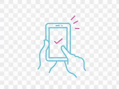 智能手機選擇屏幕,複選標記