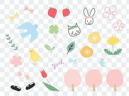 春天的插圖集