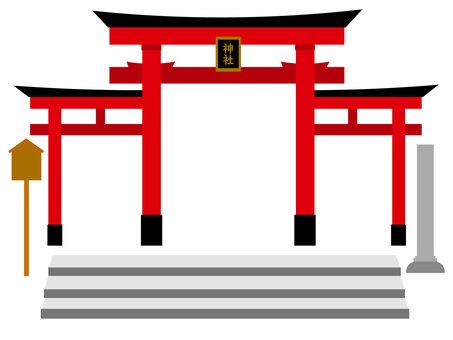 神社的鳥居三輪鳥居插圖