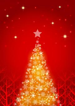冬の森と星空のクリスマス背景赤タテ