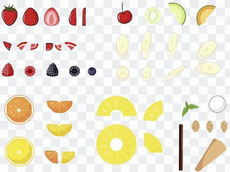 頂部的水果材料
