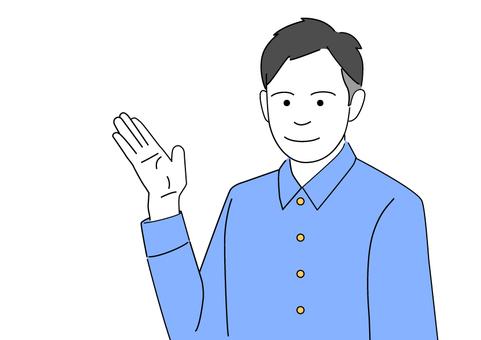 一個用手來指導建議的人-blue