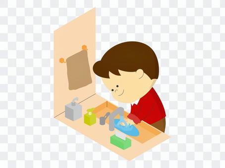 男孩洗手洗手間