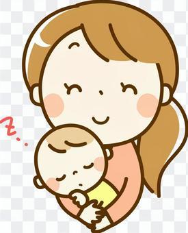 睡覺的嬰兒和媽媽