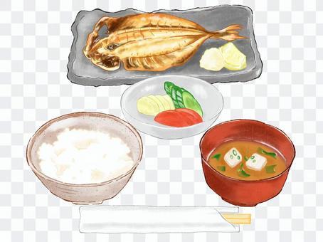 早餐(日本料理、竹莢魚開場)
