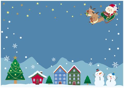 聖誕節明亮的夜空和城市景觀框架