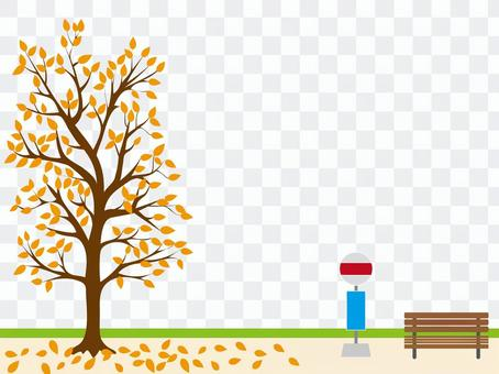 Bus stop and tree