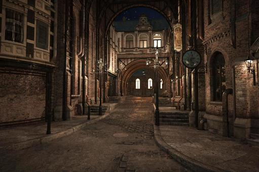 魔法国の夜の街角