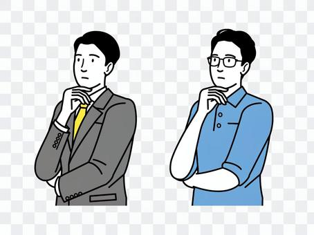 ビジネスシーン考える男性