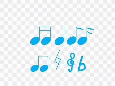 Musical note set light blue