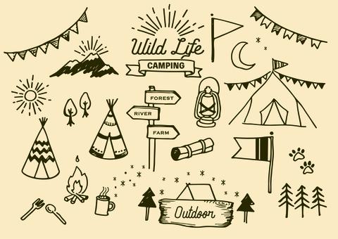 Outdoor illustration set