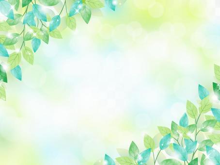 新鮮的綠色/水彩框架04 /陽光穿過樹林