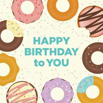 可愛的甜甜圈生日賀卡