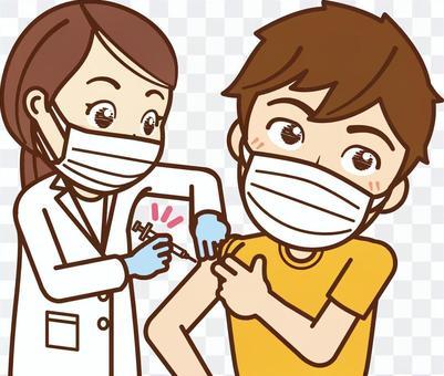 疫苗接種 / 大學生 / 男(帶口罩)