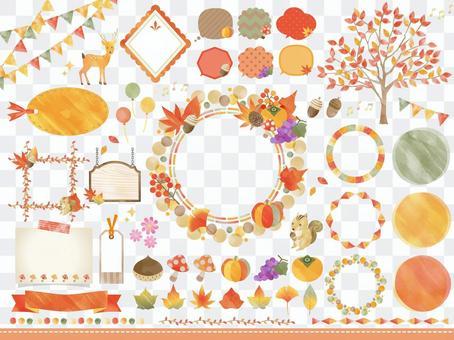 秋季動植物/水彩風格框架氣球套裝