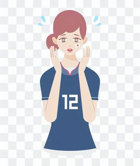 足球支持者不耐煩的女人