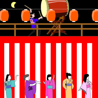 Bon Odori Venue Festival Lantern Taiko Yukata