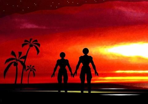 在浪漫的日落海岸