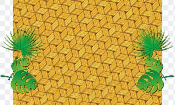 竹編織圖案和葉子