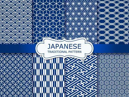 Japanese pattern seamless pattern (dark blue)