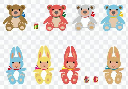 熊和兔子毛绒玩具