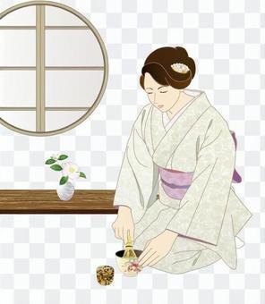 Woman who points green tea _ round window