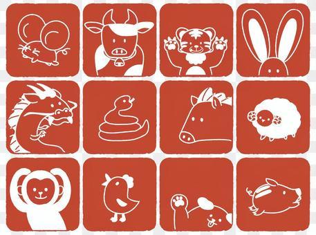 Illustration of loose zodiac signs * Hanko style