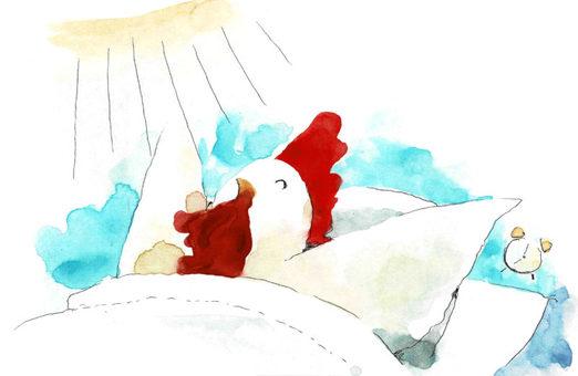 水彩で描かれた朝のニワトリのイメージ